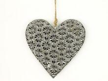 Srdce kovové - šedá