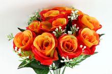 Růže x10 - oranžová