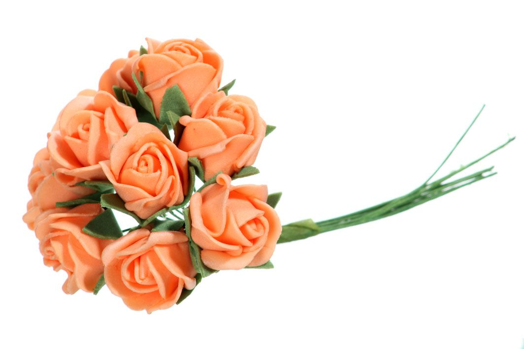 Pěnové růžičky x10 - oranžová