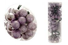 Kuličky sklo 72 ks - MIX fialová