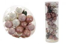 Kuličky sklo 72 ks - MIX růžová